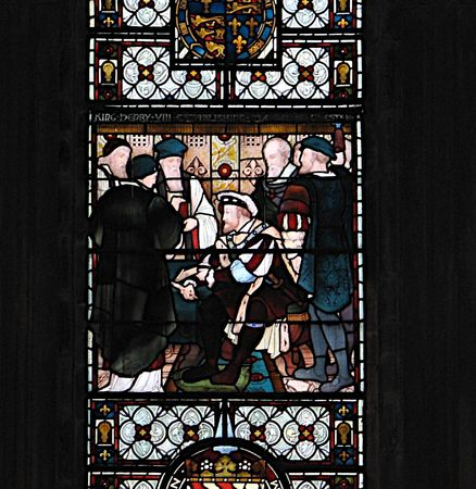 henry: Stained Glass Window of Henry VIII,benefactor of Chester Cathedral in England