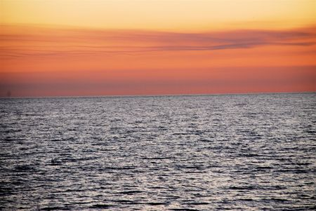 gulf of mexico: Sunset over the Gulf of Mexico at Pensacolo Beach,Florida Stock Photo
