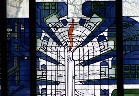 stained glass panel: Wide view of Christ Stained Glass Panel,St Boniface Cathedral, Winnipeg,Manitoba,Canada Stock Photo