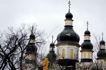 ukranian: Dome of the Large Ukranian Orthodox Church in Winnipeg, Canada Stock Photo
