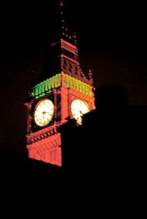 Top van de Big Ben en de klokkentoren Stockfoto