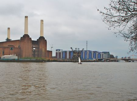 Battersea Power Station and Luxury Apartments on the Thames River