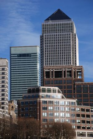 Vertical image of Canary Wharf Office and financial buildings