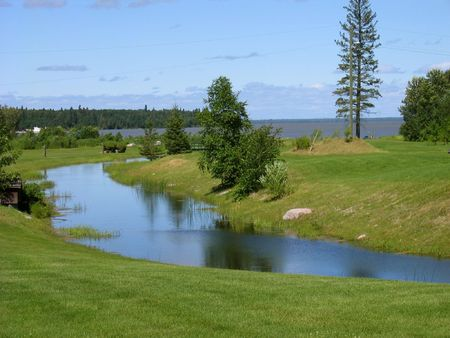lake winnipeg: Lovely Green of Hecla Island on Lake Winnipeg with Evergreens and stream Stock Photo