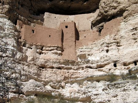 dwelling: Montezumas Castle,famous Aboriginal-Indian site of pre-historic origin.  This is an elaborate cliff dwelling