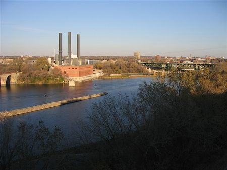 renovated: Old power plant along Mississippi River in older area of Minneapolis that is being renovated in urban development