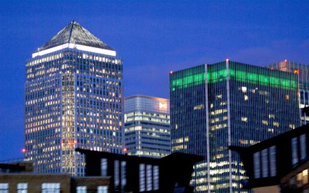 Canary Wharf at night on the Thames