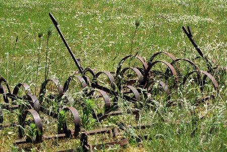 여름 필드에서 오래 된 농장 드래그