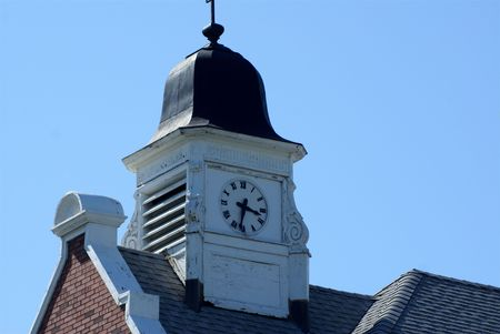 Brick School house clock tower Imagens