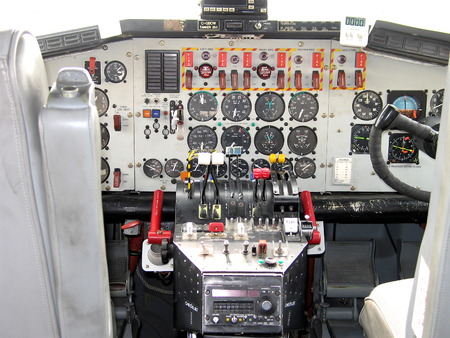 Instrument panel and steering wheel in an aircraft