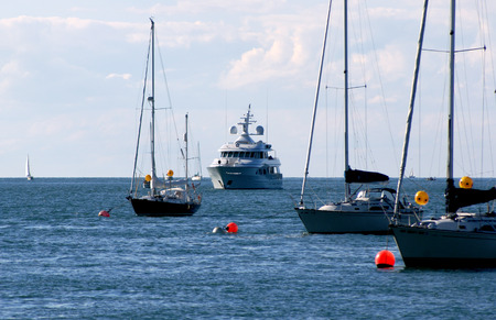 Array of pleasure boats in Lake Ontario