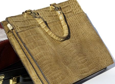 tote: Tan leather embossed briefcase or tote Stock Photo