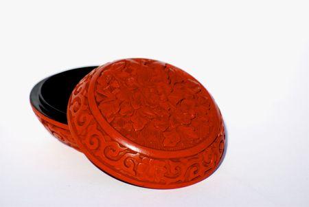 storage box: Red chinese carved cinnebar storage box