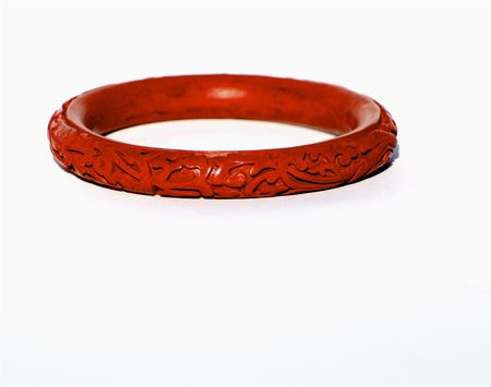 Chinese red hand carved cinnebar wood bangle