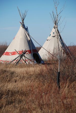 plains indian: Two Indian Plains Tepees in the fall