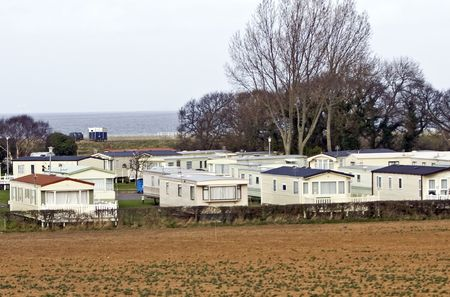 manufactured: Mobile holiday homes by the sea Stock Photo
