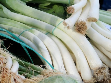 Fresh green onions at market