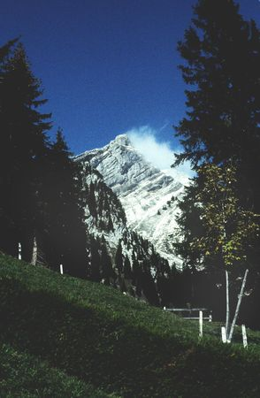 Distant view of Mount Pilatus in Switzerland covered in snow