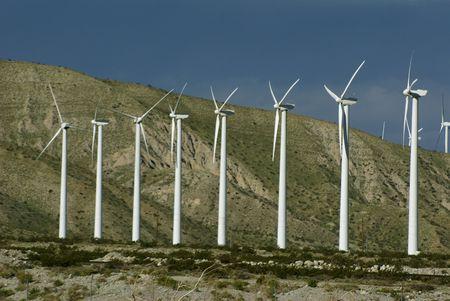 Line of wind turbines in Desert Hot Springs,California
