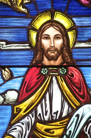 stained glass windows: Early 20th C Stained Glass with Christ