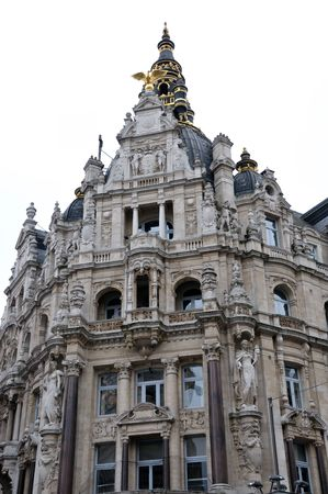 Architecture of old elaborate building near Antwerp Central Station