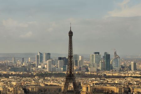 Cityscape during rain of Paris with Eiffel tower photo