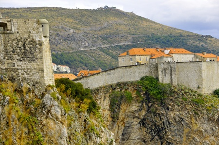walled: Walled fortress of old Dubrovnik in Croatia