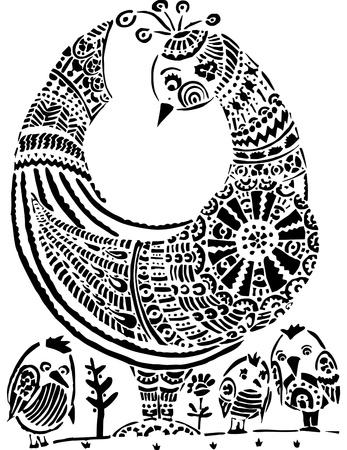 Hen with children Stock Vector - 11350361