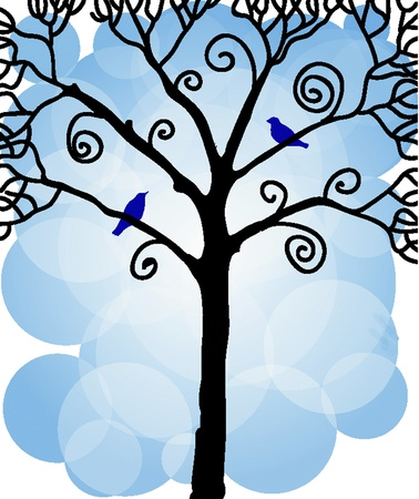 Winter tree with birds Stock Vector - 11350374