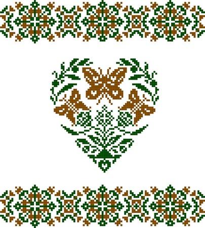 Embroidered good like handmade cross-stitch ethnic pattern