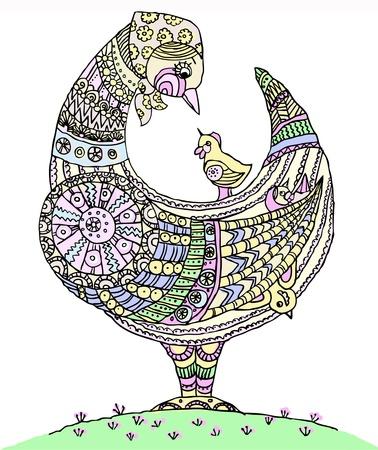 folk art: Hen with chicken, isolated on white backround