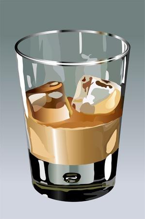 Liquor in a glass beaker on gray background Illustration