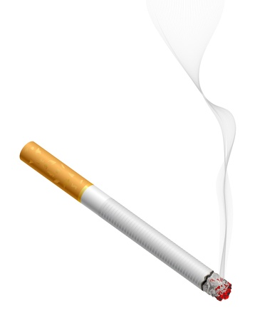 Smoldering cigarette with smoke isolated on white Vector