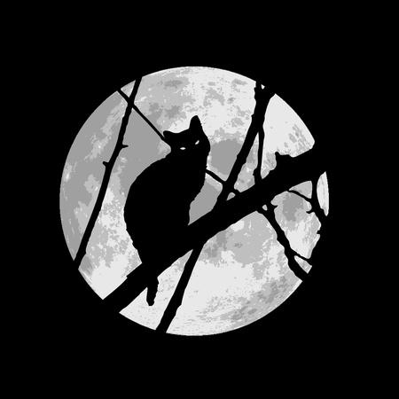 boom halloween: Zwarte kat onder de maan Stock Illustratie