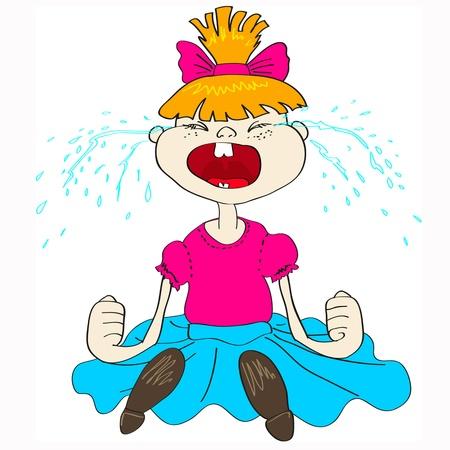 fille pleure: Solitaire et triste fille qui pleure avec des queues de cheval et t-shirt rose Illustration