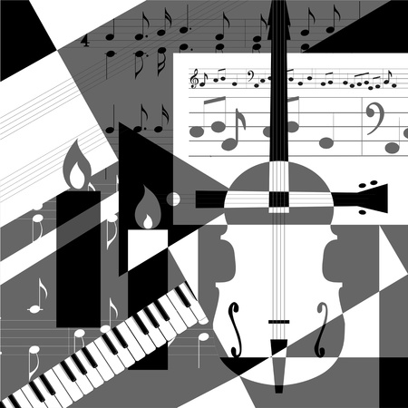 A collage of geometric shapes and musical instruments.