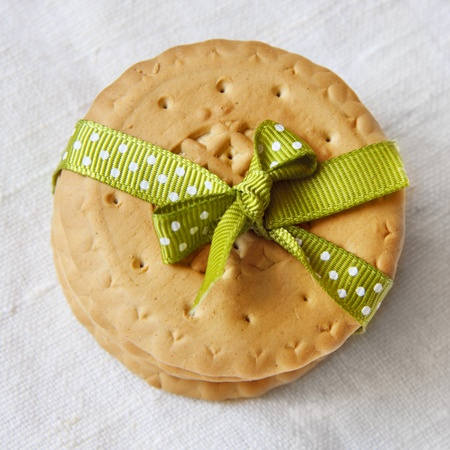 Cookies with a festive ribbon on a napkin Stock Photo - 13616603