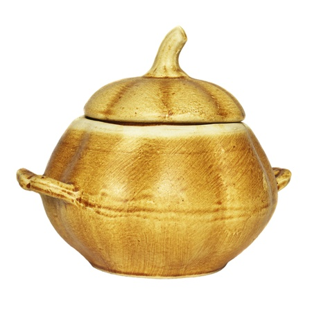 Clay pot for eating on a white background