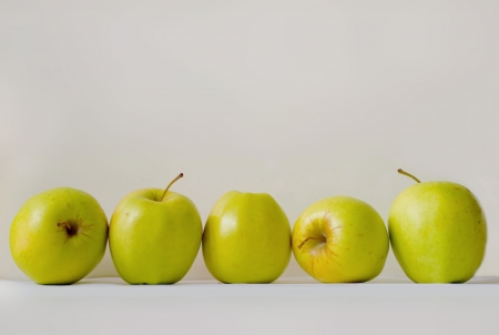 Five green apples photo