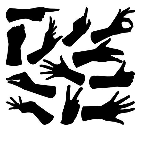 Un conjunto de gestos diferentes, aislados en blanco Ilustración de vector