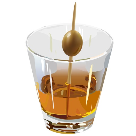 poured: Brandy in a clear glass with olive