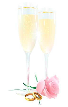 rimmed: Dos copas de champ�n, rosas y anillos sobre un fondo blanco