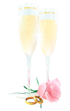 Two glasses of champagne, roses and rings on a white background