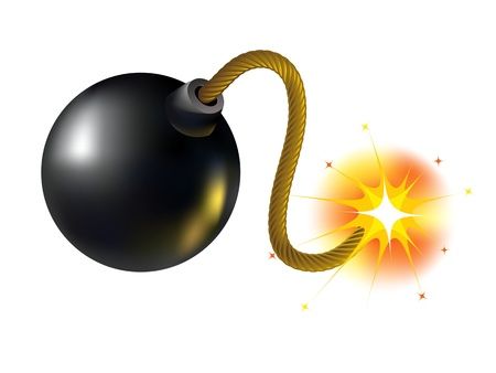 munition: A bomb with a burning wick on a white background Illustration