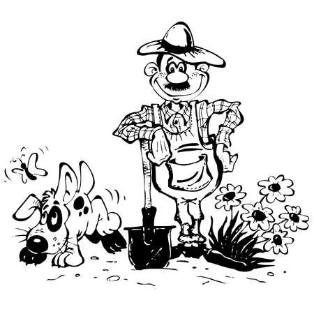 Sketch with the gardener and his dog Stock Vector - 15558664