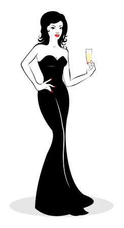 fancy dress: Girl with a glass of champagne in hand Illustration
