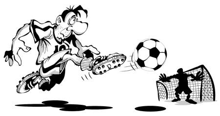 zapatos caricatura: El jugador anota un gol, está aislado en un fondo blanco Vectores