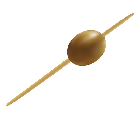 toothpick: Olive, pinned on a cocktail skewer, isolated