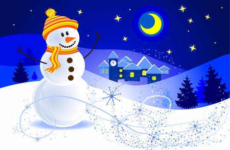 Snowman in the night of the winter landscape Stock Vector - 15558657