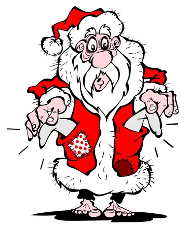 Pauper Santa Claus with his bare feet
